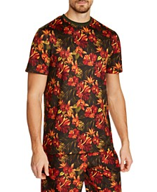 Tallia Men's Slim-Fit Comfort Stretch Floral Short Sleeve Crew T-Shirt