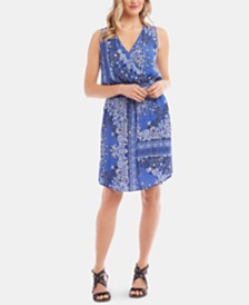 Karen Kane Bandana-Print Sleeveless Dress