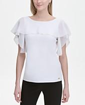 d041fbee Calvin Klein Mixed-Materials Flutter-Sleeve Top