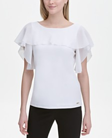 Calvin Klein Mixed-Materials Flutter-Sleeve Top