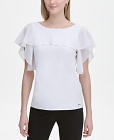Calvin Klein Mixed-Materials Flutter-Sleeve Top