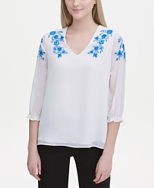 Calvin Klein Embroidered 3/4-Sleeve Top