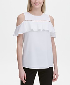 Calvin Klein Cold-Shoulder Beaded-Trim Top