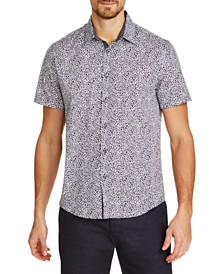 Tallia Men's Slim-Fit Stretch Leopard Short Sleeve Shirt