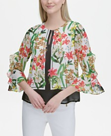 Calvin Klein Printed Ruffled-Sleeve Top