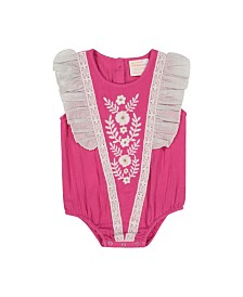 Masala Baby Girls Ruffle One Piece Rosa