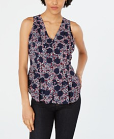 Maison Jules Printed V-Neck Sleeveless Top, Created for Macy's