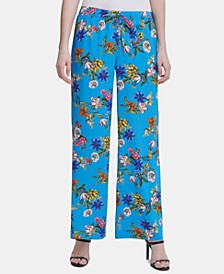 Floral-Print Drawstring-Waist Pants
