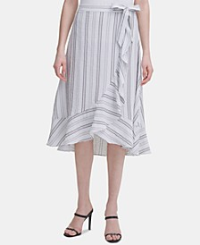 Ruffled Striped Midi Skirt