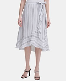 Calvin Klein Ruffled Striped Midi Skirt