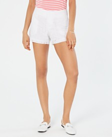 Maison Jules Eyelet Shorts, Created for Macy's