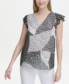Calvin Klein Mixed-Print Flutter-Sleeve Top