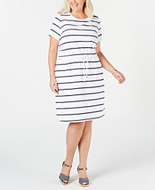 Plus Size Striped Drawstring-Waist Dress, Created for Macy's