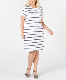 Charter Club Plus Size Striped Drawstring-Waist Dress, Created for Macy's