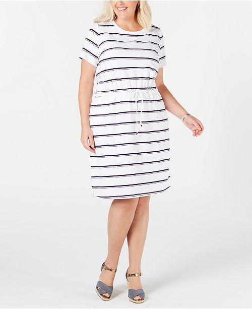 Plus Size Striped Drawstring-Waist Dress, Created for Macy\'s
