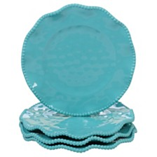 Certified International Perlette Teal Melamine 4-Pc. Salad Plate Set