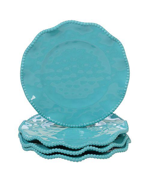 Certified International Perlette Teal Melamine 4-Pc. Salad Plate Set