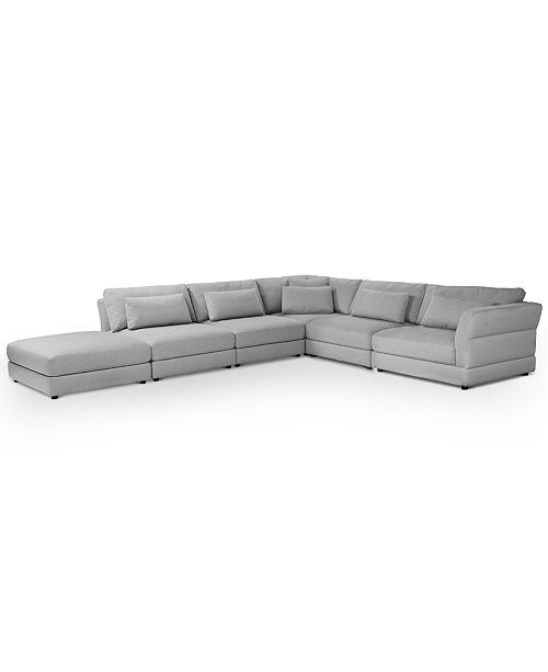 Furniture Coylan 6-Pc. Fabric Modular with Open End Ottoman