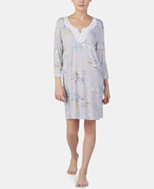 Ellen Tracy Lace-Trim Printed Tunic Nightgown