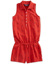 Polo Ralph Lauren Big Girls Anchor Cotton Mesh Romper