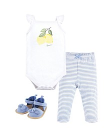 Cotton Bodysuit, Pants and Shoe Set, 0-18 Months