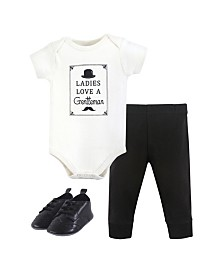 Hudson Baby Unisex Baby Bodysuit, Bottom and Shoes, Gentleman 3-Piece Set, 0-18 Months