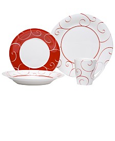 Red Vanilla Panache Rouge 16-piece Dinner Set