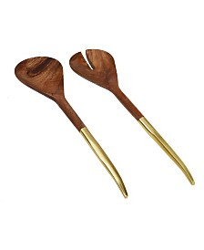 Classic Touch Wooden Salad Servers with Handle