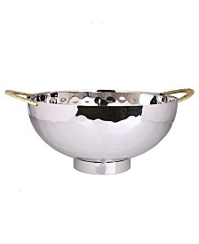 "Classic Touch 10"" Stainless Steel Salad Bowl with Mosaic Handles"