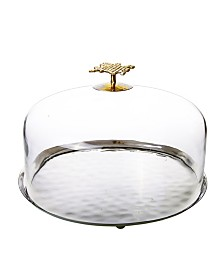 Classic Touch Glass Cake Dome with Mosaic Gold Handle