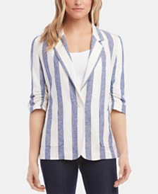 Karen Kane Ruched-Sleeve Striped Blazer