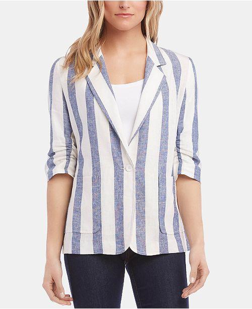 Karen Kane Ruched-Sleeve Striped Blazer
