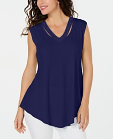 JM Collection Petite V-Neck Cutout Tank Top, Created for Macy's