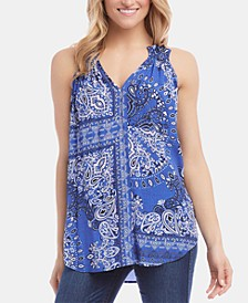 Ruffle-Neck Bandana-Print Top
