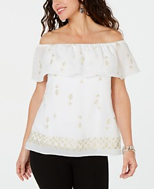 JM Collection Embroidered Off-The-Shoulder Top, Created for Macy's