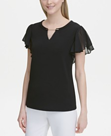 Calvin Klein Flutter-Sleeve Split-Neck Top