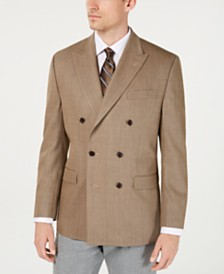 Lauren Ralph Lauren Men's Classic-Fit UltraFlex Stretch Light Brown Herringbone Double-Breasted Sport Coat