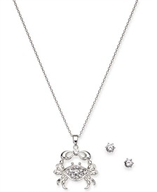Silver-Tone Crystal Stud Earrings & Crab Pendant Necklace Set, Created for Macy's