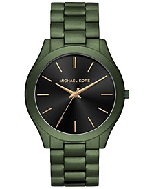 Men's Slim Runway Olive Stainless Steel Bracelet Watch 44mm
