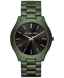 Men's Slim Runway Olive Stainless Steel Bracelet Watch 44mm