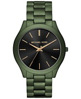 ea50eaa875d8 Michael Kors Men s Slim Runway Olive Stainless Steel Bracelet Watch 44mm