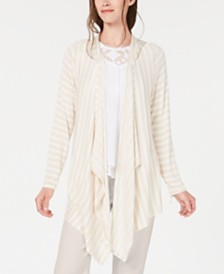 Style & Co Striped Hooded Completer Cardigan, Created for Macy's