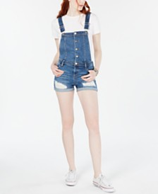 Tinseltown Juniors' Ripped Cuffed Denim Shortalls