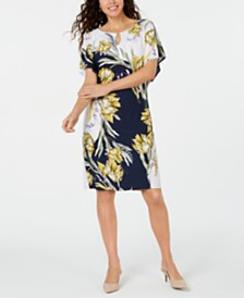 JM Collection Petite Printed Keyhole Dress, Created for Macy's