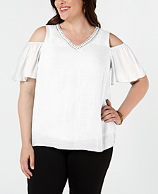 Plus Size Studded Cold-Shoulder Top, Created for Macy's
