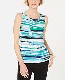 Printed Scalloped-Neck Top