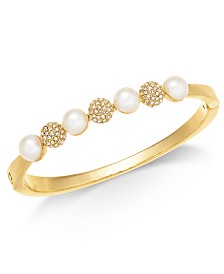 Charter Club Gold-Tone Imitation Pearl & Crystal Fireball Bracelet, Created for Macy's