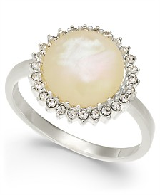 Charter Club Silver-Tone Imitation Mother-of-Pearl Stone Ring, Created for Macy's