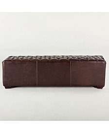 "Arabella Leather Bench with Diamond Stitched Detailing - 59.06"" x 18"" x 17"""