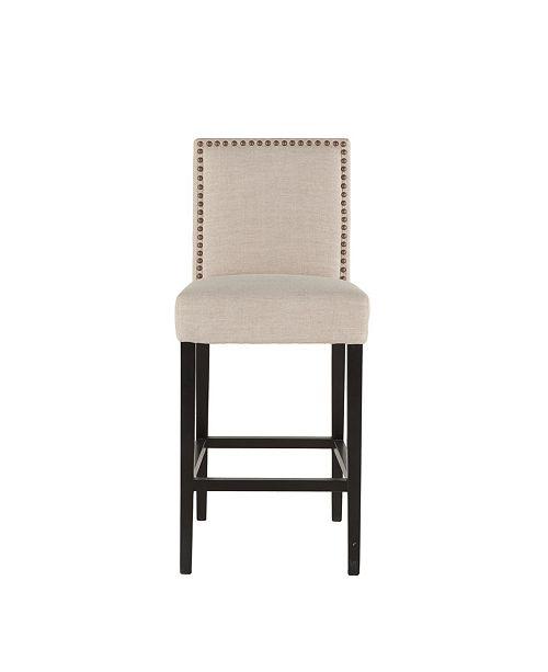 "World Interiors Jona Linen Bar Chair with Dark Walnut Legs - 22.5"" x 21"" x 45.5"""